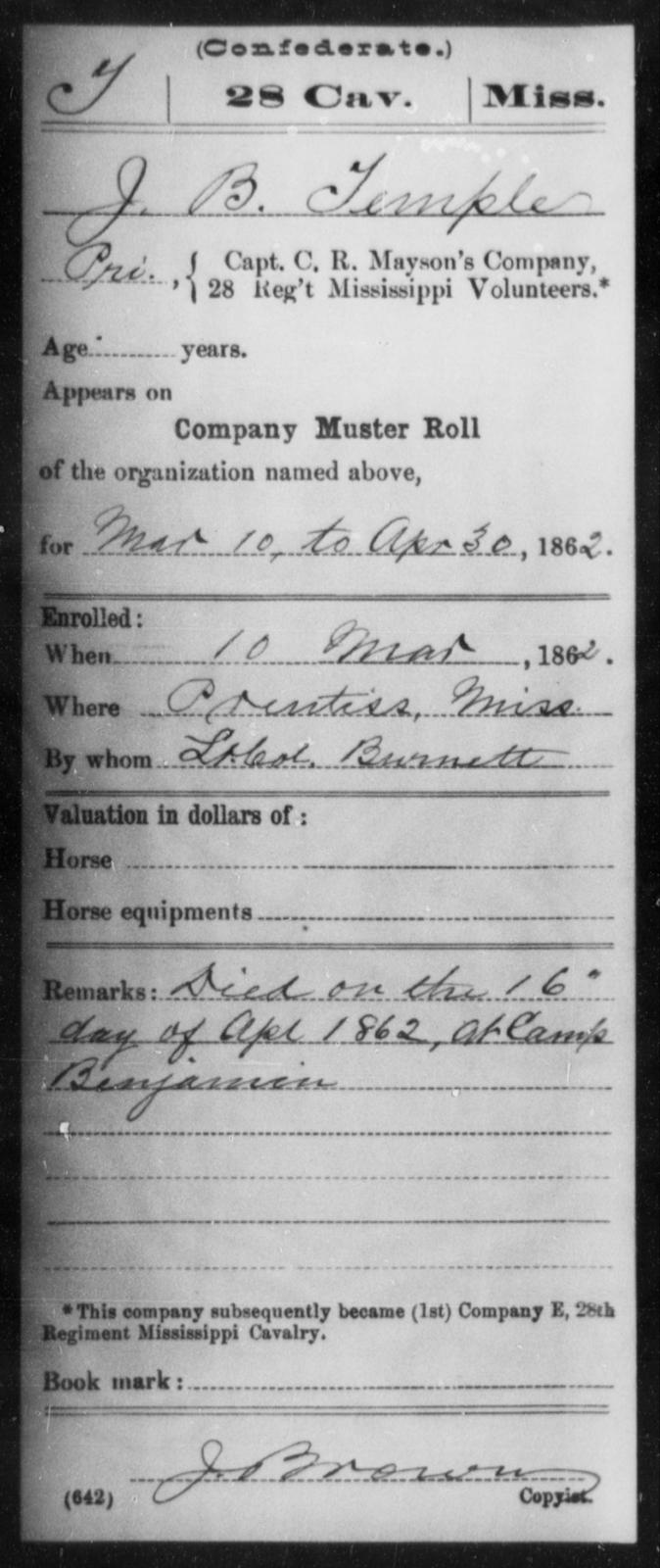 Temple, J B - Age: [Blank], Year: 1862 - Mississippi Twenty-eighth Cavalry, Sm-V