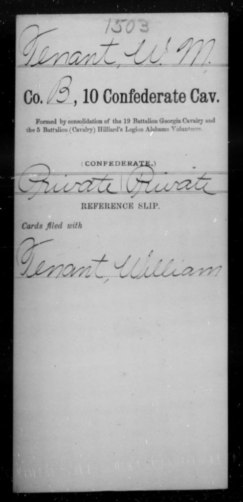 Tenant, W M - Age [Blank], Year: [Blank] - Tenth Confederate Cavalry, R-Z - Raised Directly by the Confederate Government