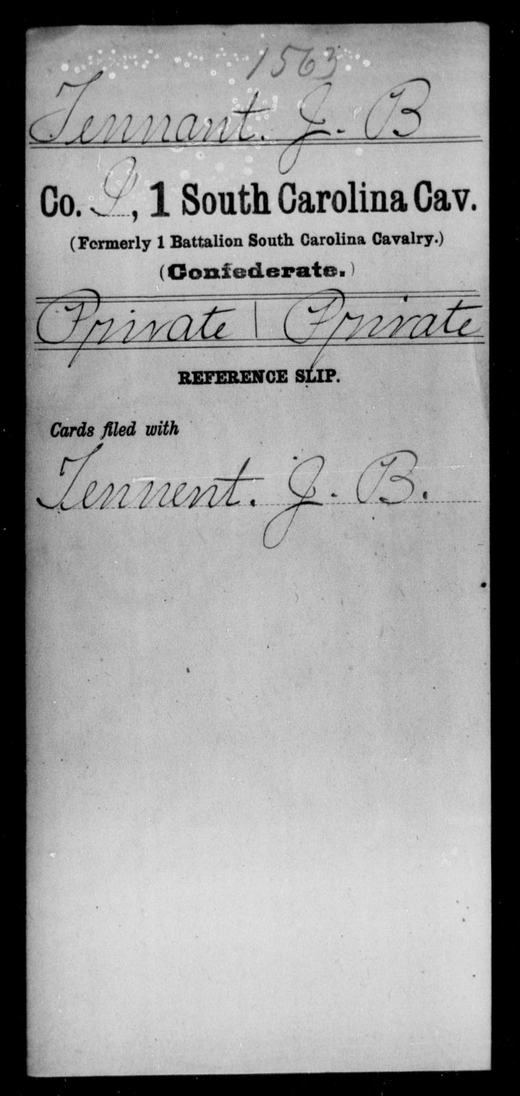 Tennant, J B - Age: [Blank], Year: [BLANK] - South Carolina First Cavalry Sh-V