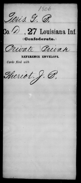 Teris, G B - Age [Blank], Year: [Blank] - Twenty-seventh Infantry, Sp - Z - Louisiana