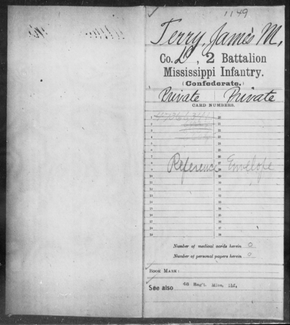 Terry, James M - Age: [Blank], Year: [BLANK] - Mississippi Second Battalion, Infantry, R-Z AND Second (Davidson's) Infantry (Army of 10,000), A-O