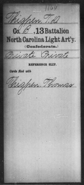 Thigpen, T D - Thirteenth Battalion, Light Artillery