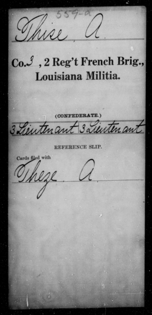 Thise, A - Age [Blank], Year: [Blank] - Second Regiment, French Brigade, Militia - Louisiana