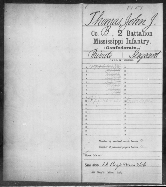 Thomas, John J - Age: [Blank], Year: [BLANK] - Mississippi Second Battalion, Infantry, R-Z AND Second (Davidson's) Infantry (Army of 10,000), A-O