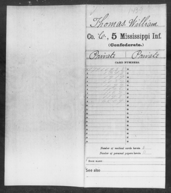 Thomas, William - Age: 20, Year: 1861 - Mississippi Fifth Infantry, S-Y