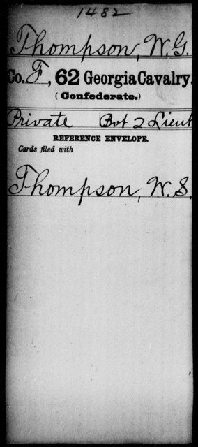 Thompson, W G - 62d Cavalry