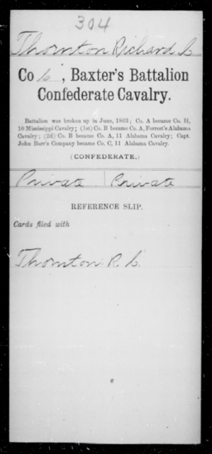 Thornton, Richard C - Age [Blank], Year: [Blank] - Twentieth Confederate Cavalry, N-YAND Baxter's Battalion, Confederate Cavalry - Raised Directly by the Confederate Government