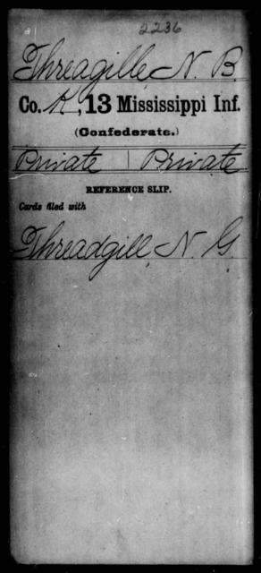 Threagille, N B - Age: [Blank], Year: [BLANK] - Mississippi C, Sh-T