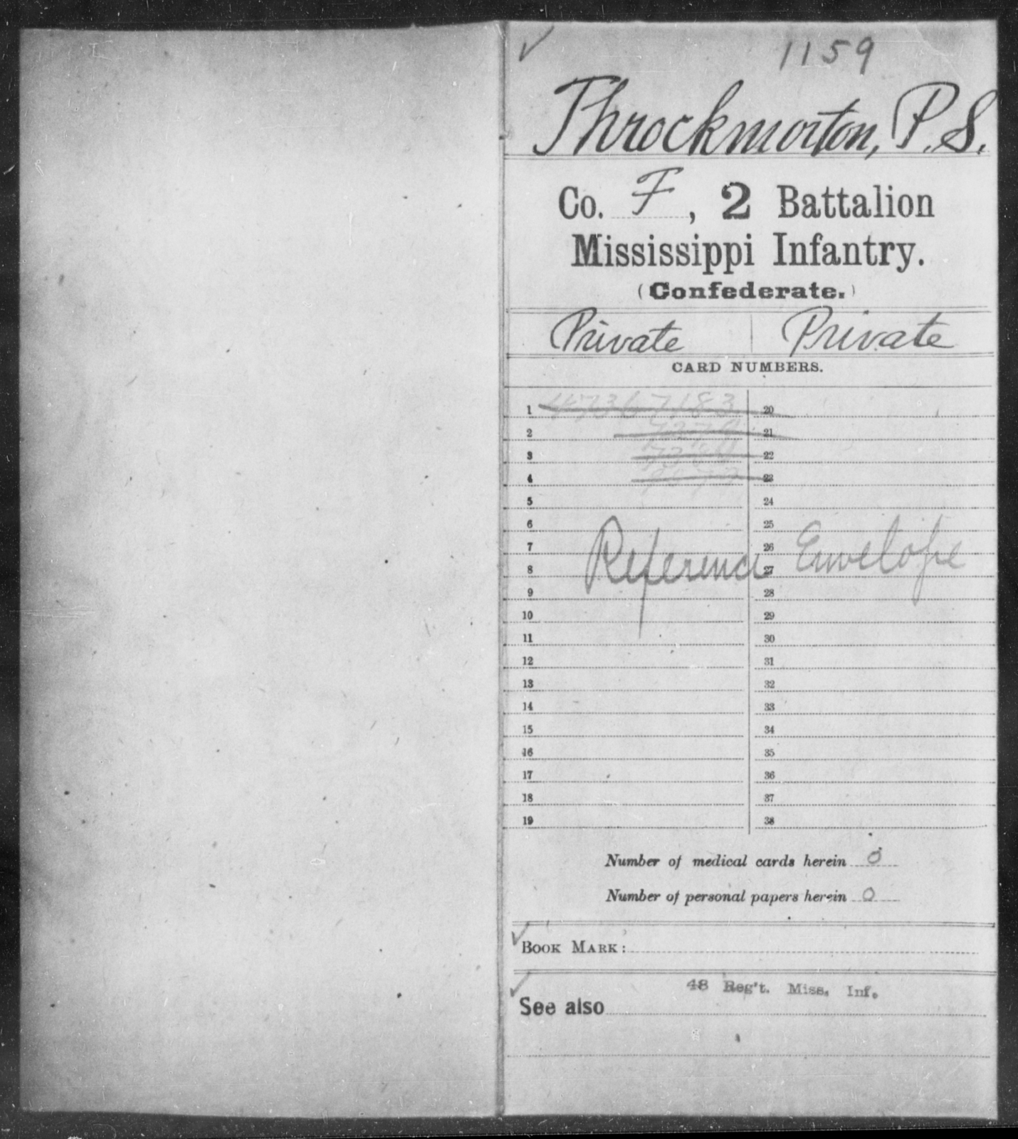 Throckmorton, P S - Age: [Blank], Year: [BLANK] - Mississippi Second Battalion, Infantry, R-Z AND Second (Davidson's) Infantry (Army of 10,000), A-O