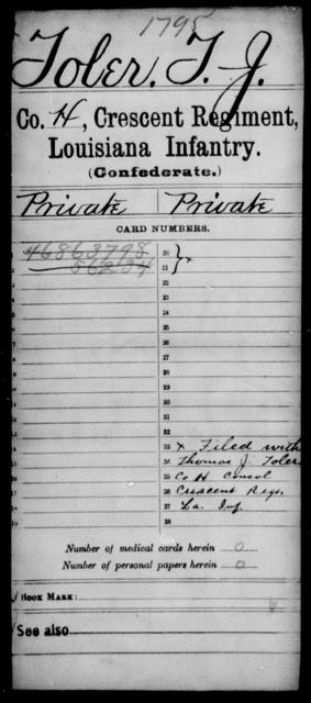 Tober, T J - Age [Blank], Year: [Blank] - Crescent Regiment, Infantry, T - Z - Louisiana