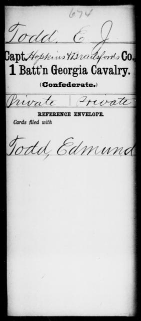 Todd, E J - 1st Battalion, Cavalry