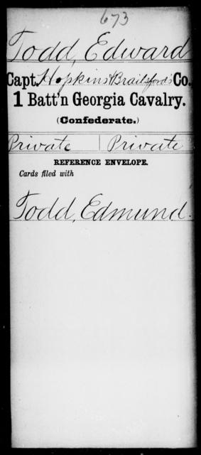 Todd, Edward - 1st Battalion, Cavalry