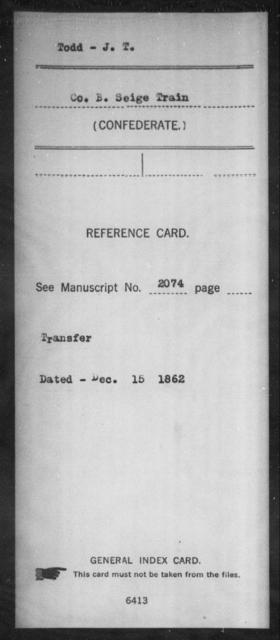 Todd, J T - Age: [Blank], Year: [BLANK] - South Carolina Manigault's Battalion, Artillery Sk-Z