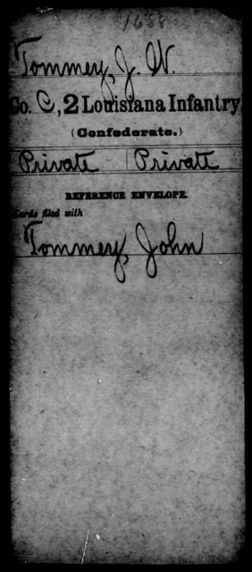 Tommey, J W - Age [Blank], Year: [Blank] - M, So-Wh - Louisiana