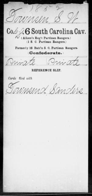 Townsen, S W - Age: [Blank], Year: [BLANK] - South Carolina Sixth Cavalry Sh-Y