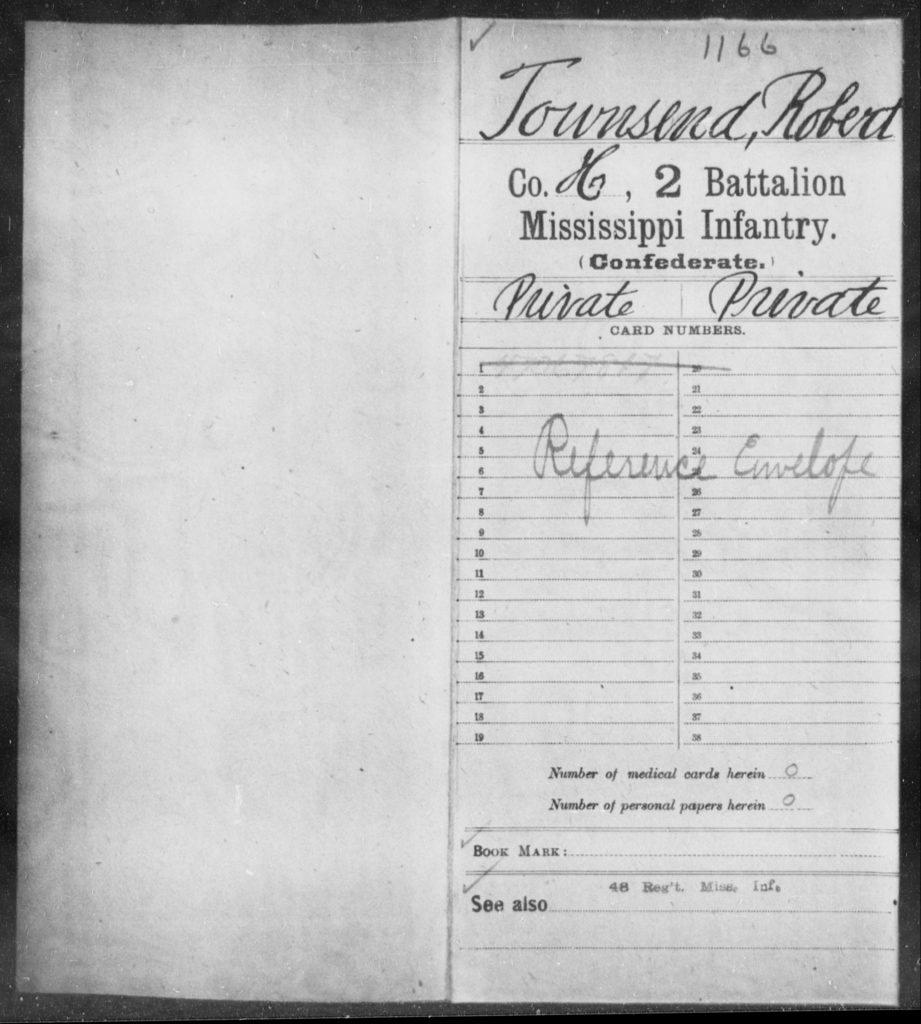 Townsend, Robert - Age: [Blank], Year: [BLANK] - Mississippi Second Battalion, Infantry, R-Z AND Second (Davidson's) Infantry (Army of 10,000), A-O
