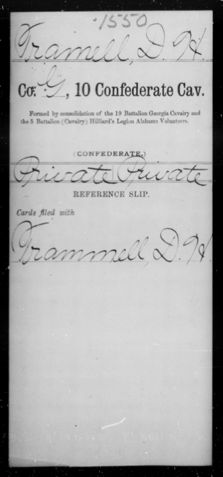 Tramell, D H - Age [Blank], Year: [Blank] - Tenth Confederate Cavalry, R-Z - Raised Directly by the Confederate Government