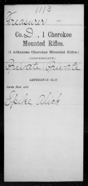 Treasurer, [Blank] - Age [Blank], Year: [Blank] - First Cherokee Mounted Rifles, M-Y - Raised Directly by the Confederate Government