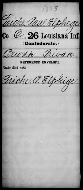 Triche, Paul Elphege - Age [Blank], Year: [Blank] - Twenty-sixth Infantry, Mh - Z - Louisiana