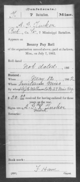 Tucker, 1 - Age: [Blank], Year: 1862 - Mississippi Seventh Battalion, Infantry, P-Y