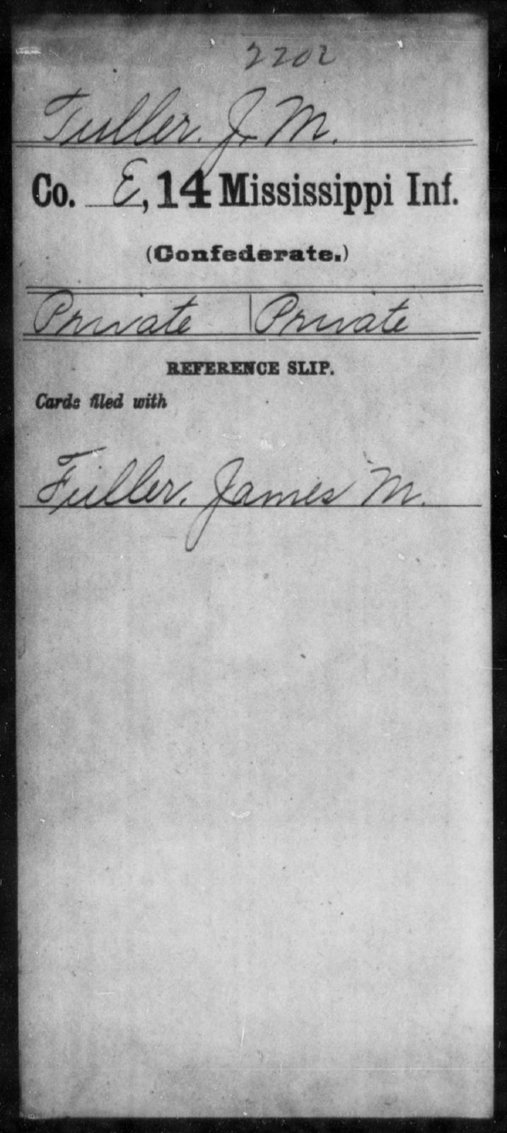 Tuller, J M - Age: [Blank], Year: [BLANK] - Mississippi Fourteenth Infantry, St-Wh