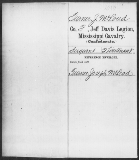 Turner, J M Loud - Age: [Blank], Year: [BLANK] - Mississippi Jeff Davis Legion, Cavalry, St-Z