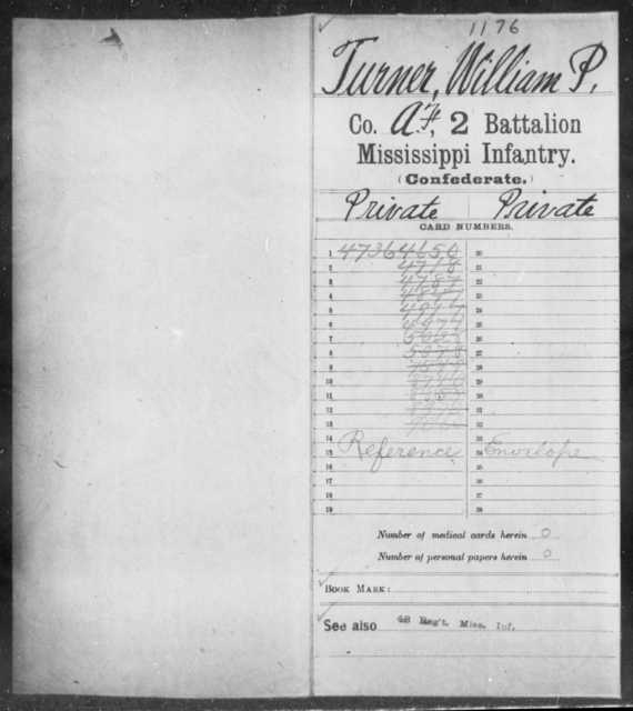Turner, William P - Age: [Blank], Year: [BLANK] - Mississippi Second Battalion, Infantry, R-Z AND Second (Davidson's) Infantry (Army of 10,000), A-O