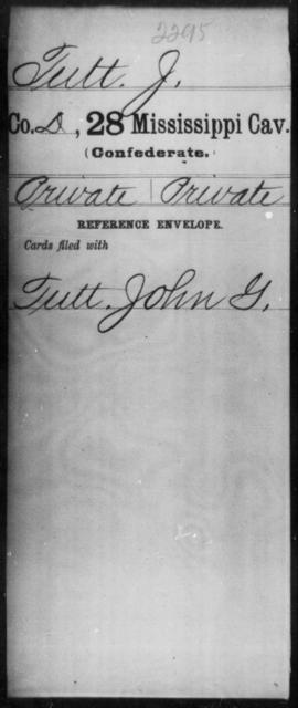Tutt, J - Age: [Blank], Year: [BLANK] - Mississippi Twenty-eighth Cavalry, Sm-V
