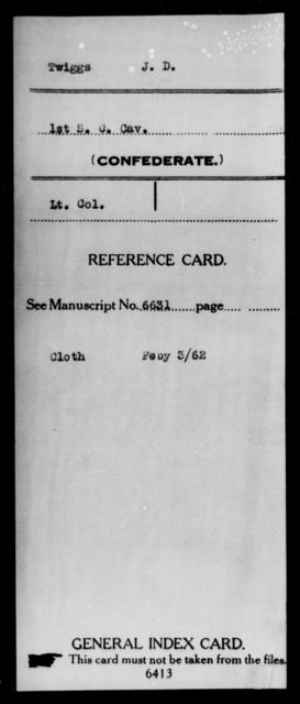 Twiggs, J D - Age: [Blank], Year: [BLANK] - South Carolina First Cavalry Sh-V