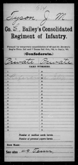 Tyson, J M - Age [Blank], Year: [Blank] - Bailey's Consolidated Regiment of Infantry AND Bradford's Corps, Scouts and Guards - Raised Directly by the Confederate Government