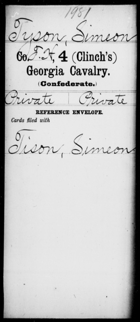 Tyson, Simeon - 4th (Clinch's) Cavalry