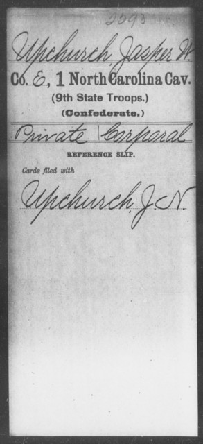 Upchurch, Jasper W - First Cavalry (Ninth State Troops)
