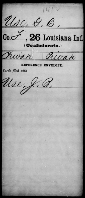 Use, G B - Age [Blank], Year: [Blank] - Twenty-sixth Infantry, Mh - Z - Louisiana