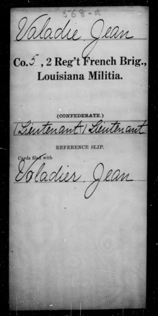 Valadie, Jean - Age [Blank], Year: [Blank] - Second Regiment, French Brigade, Militia - Louisiana