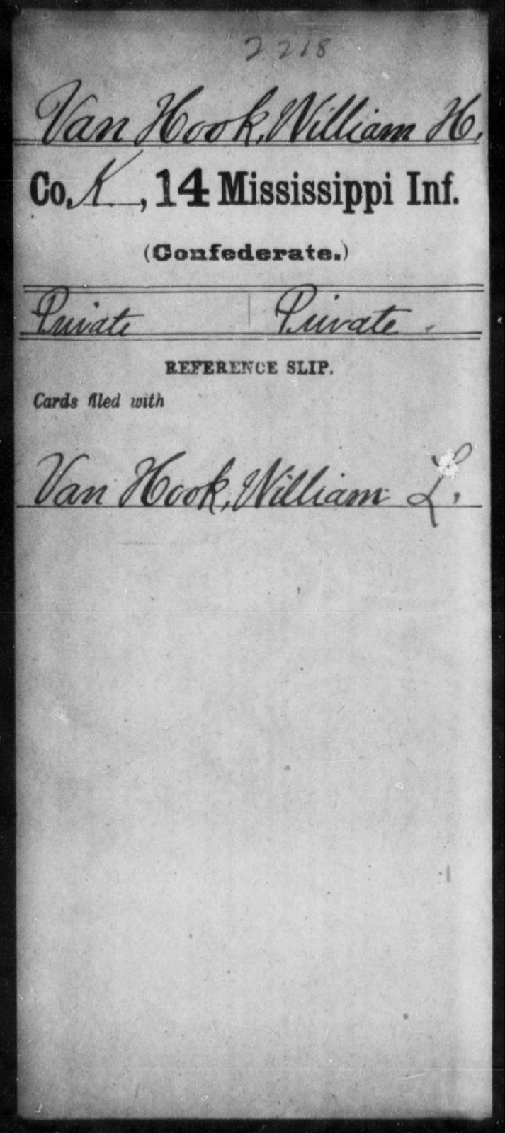 Van Hook, William H - Age: [Blank], Year: [BLANK] - Mississippi Fourteenth Infantry, St-Wh