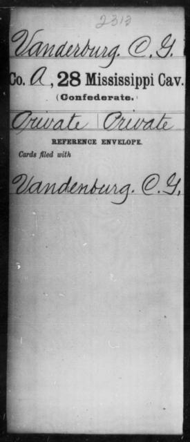 Vanderburg, C G - Age: [Blank], Year: 1862 - Mississippi Twenty-eighth Cavalry, Sm-V