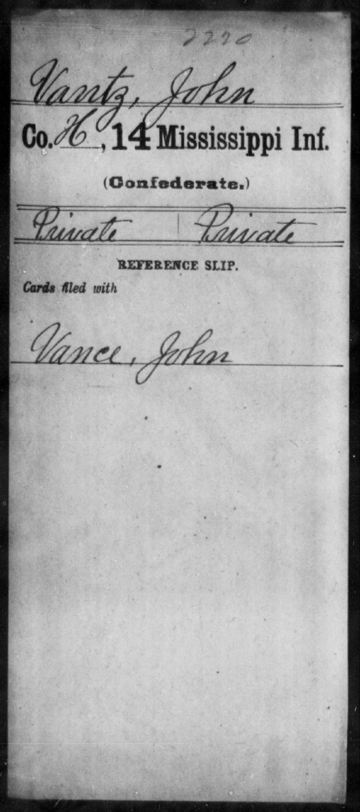 Vantz, John - Age: [Blank], Year: [BLANK] - Mississippi Fourteenth Infantry, St-Wh