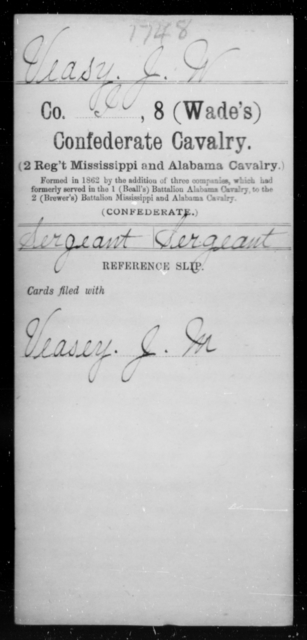 Veasy, J W - Age [Blank], Year: [Blank] - Eighth Confederate Cavalry, S-Z - Raised Directly by the Confederate Government