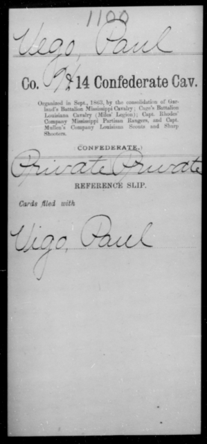 Vego, Paul - Age [Blank], Year: [Blank] - Fourteenth Confederate Cavalry, L-Z - Raised Directly by the Confederate Government