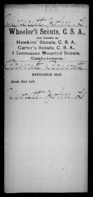 Vinerett, John L - Age [Blank], Year: [Blank] - Murchison's Battalion, Cavalry AND Powers' Regiment, Confederate Cavalry AND Capt. Raum's Co., Confederate Cavalry AND Wheeler's Scouts CSA - Raised Directly by the Confederate Government