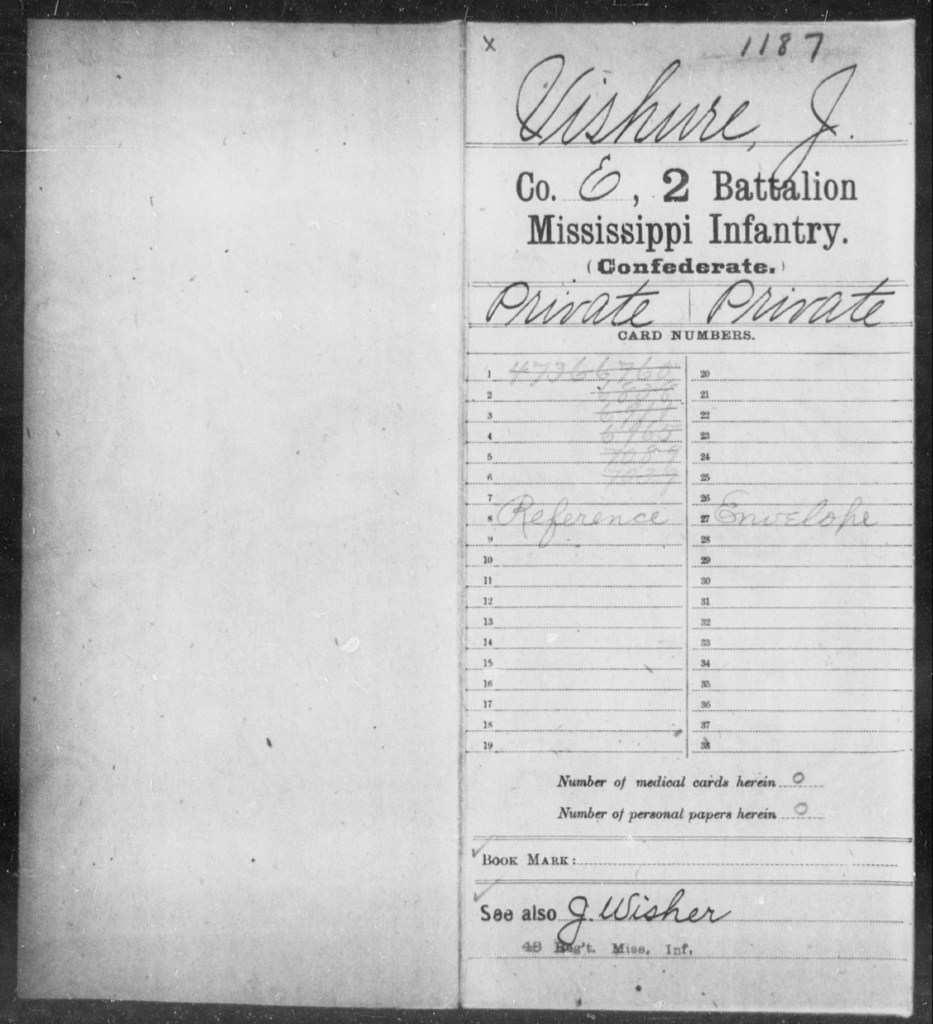 Vishure, J - Age: [Blank], Year: [BLANK] - Mississippi Second Battalion, Infantry, R-Z AND Second (Davidson's) Infantry (Army of 10,000), A-O
