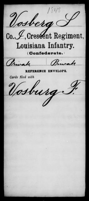 Vosberg, S - Age [Blank], Year: [Blank] - Crescent Regiment, Infantry, T - Z - Louisiana