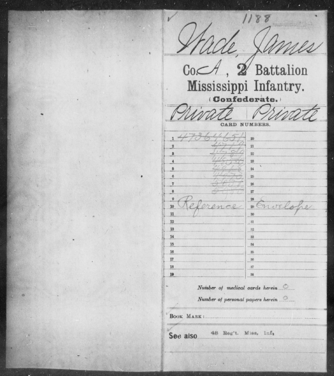 Wade, James - Age: [Blank], Year: [BLANK] - Mississippi Second Battalion, Infantry, R-Z AND Second (Davidson's) Infantry (Army of 10,000), A-O