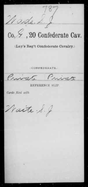 Wade, S J - Age [Blank], Year: [Blank] - Twentieth Confederate Cavalry, N-YAND Baxter's Battalion, Confederate Cavalry - Raised Directly by the Confederate Government