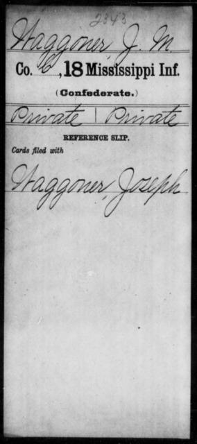 Waggoner, J M - Age: [Blank], Year: [BLANK] - Mississippi M, To-Z