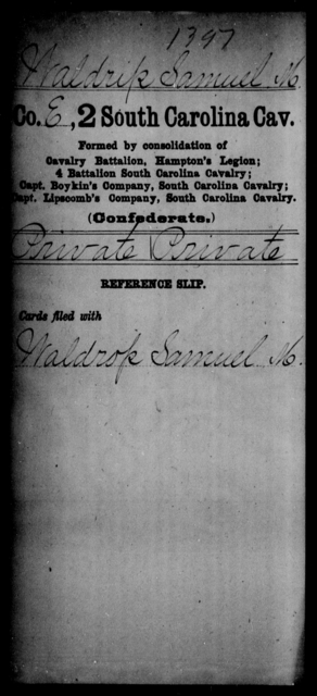 Waldrip, Samuel M - Age: [Blank], Year: [BLANK] - South Carolina Second Cavalry T-Y, Second Battalion, Cavalry Reserves