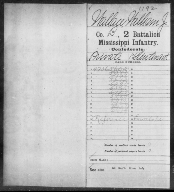 Wallace, William J - Age: [Blank], Year: [BLANK] - Mississippi Second Battalion, Infantry, R-Z AND Second (Davidson's) Infantry (Army of 10,000), A-O