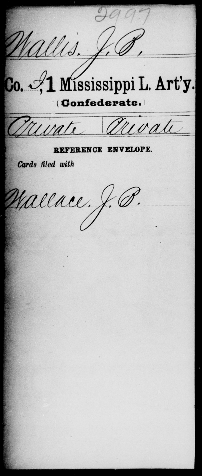 Wallis, J B - Age: [Blank], Year: [BLANK] - Mississippi First Light Artillery, Ty-Y