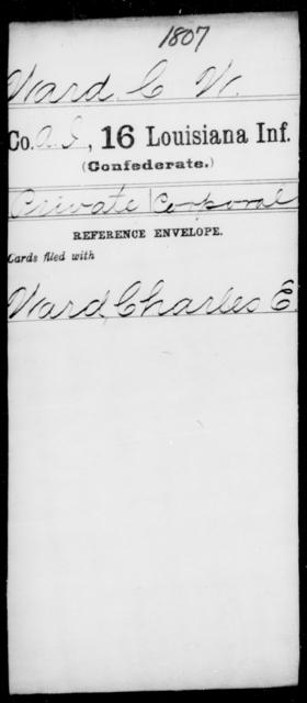 Ward, C W - Age [Blank], Year: [Blank] - Roll Military Unit, T - Z - Louisiana