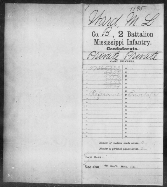 Ward, M L - Age: [Blank], Year: [BLANK] - Mississippi Second Battalion, Infantry, R-Z AND Second (Davidson's) Infantry (Army of 10,000), A-O